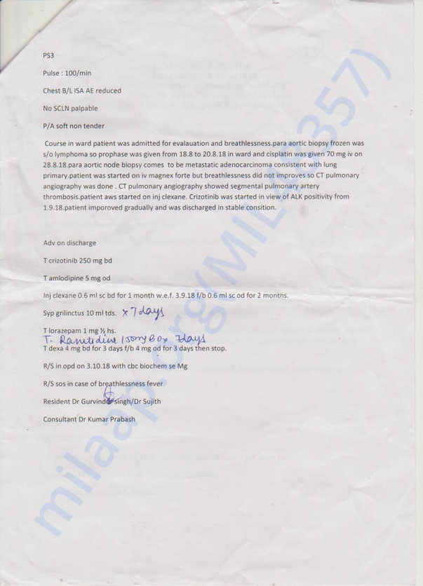 TATA MEMORIAL HOSPITAL DISCHARGE PAPERS 2ND PAGE