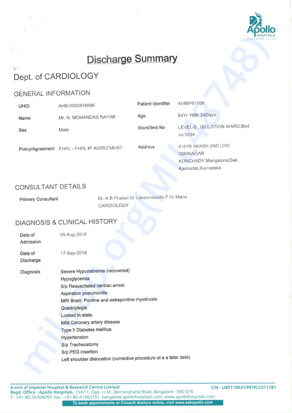 Discharge and Case Summary