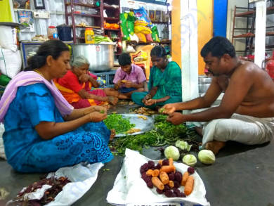 Sukumar and family packing the food packets