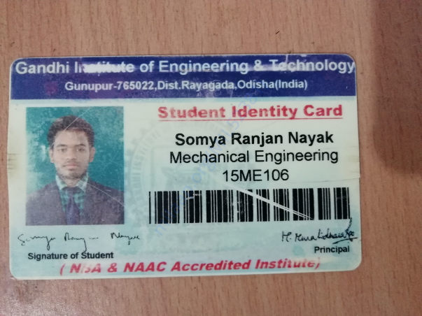 In picture showing my college identity card