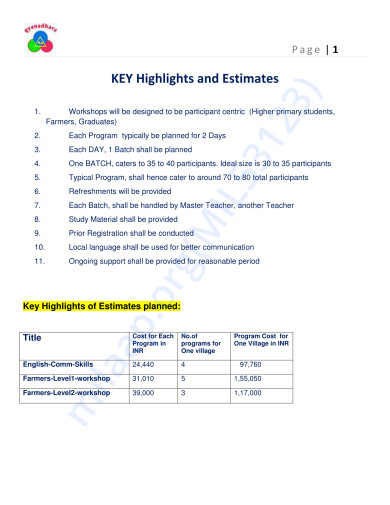 Key Highlights and Estimates -Page 1