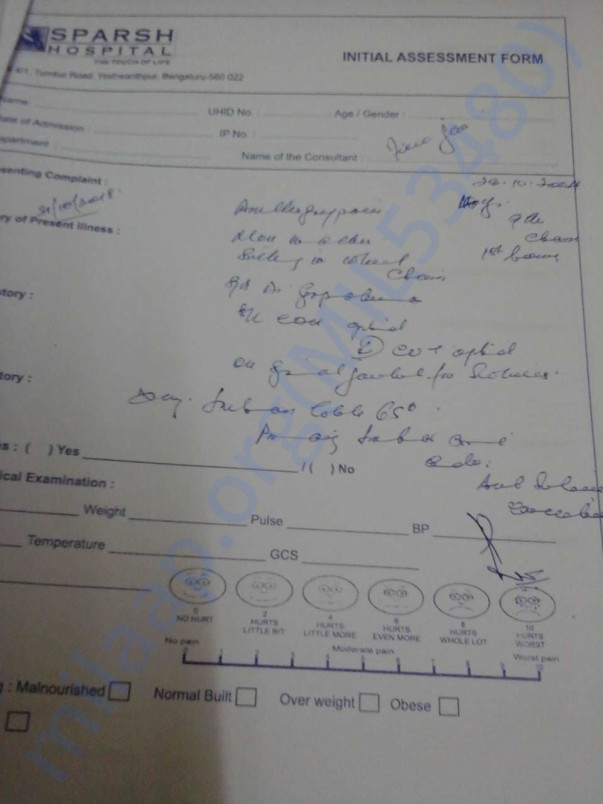 Medical report by Sparsh Hospital, Bangalore