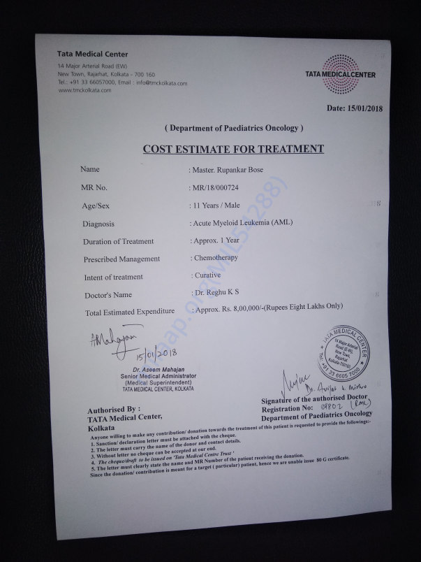 Cost estimate of the treatment being given