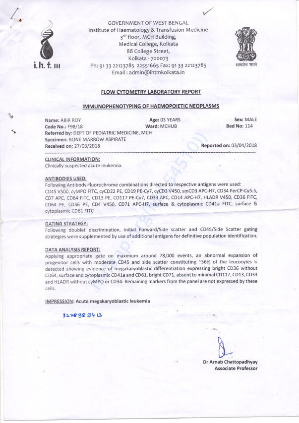 Letter of IHTM, Medical College Kolkata West Bengal Govt