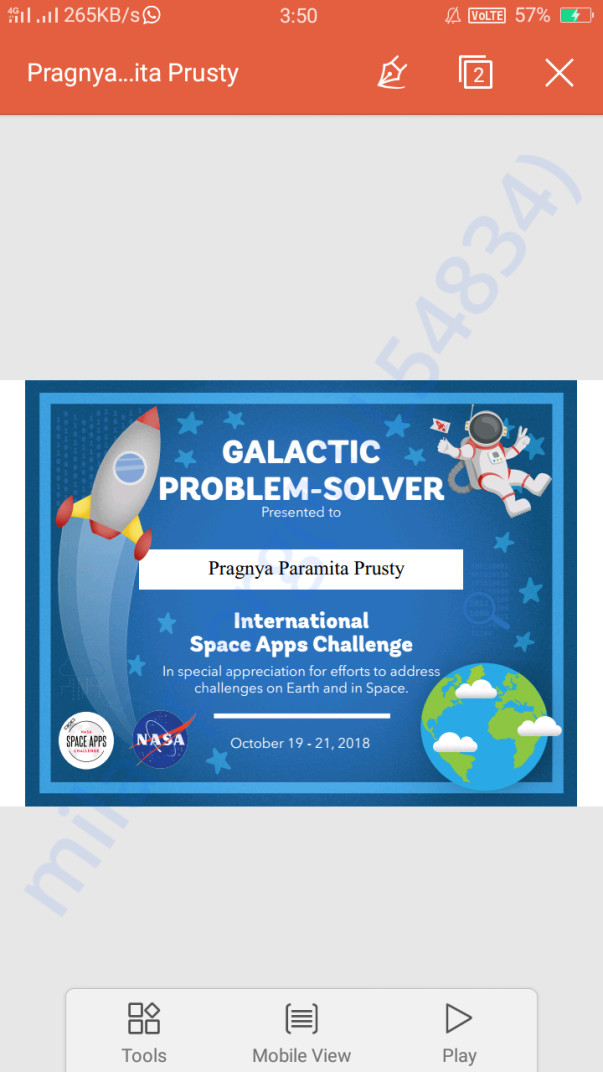 Certificate of NASA Space apps challenge, India