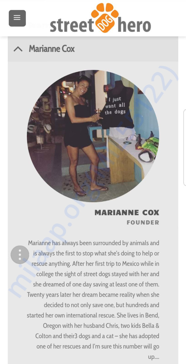 Bio of Marianne - Founder of Street Dog Hero