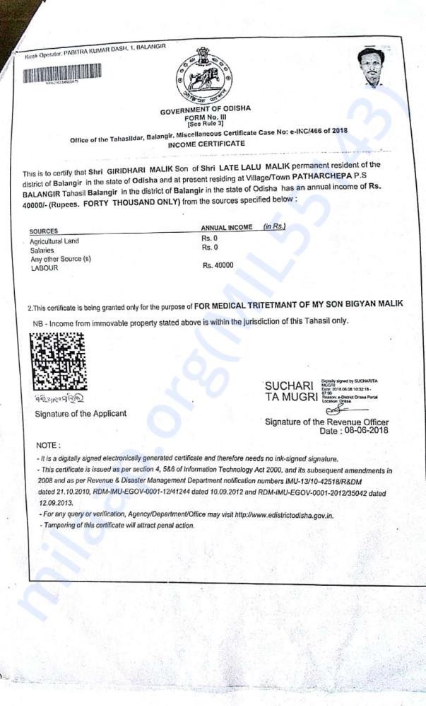 Income certificate of Giridhari Malick, Prahallad's father
