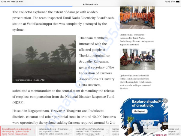 Attached are the copies of articles that came after the cyclone