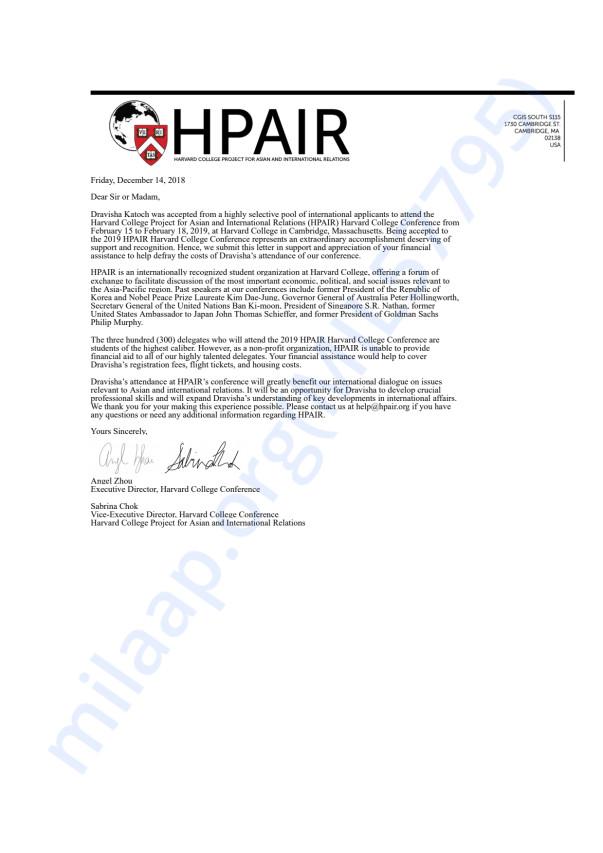 Help Dravisha Attend Harvard College Conference Hpair Milaap