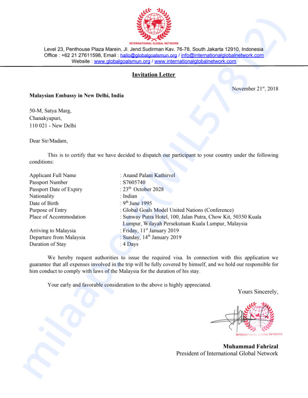 Letter of Invitation for Mr. Anand PK