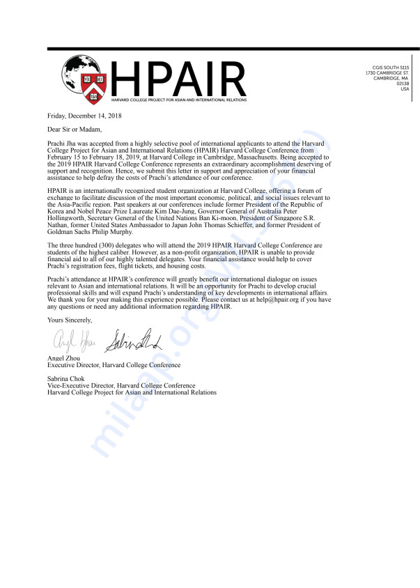This is the financial support letter from HPAIR for your perusal.