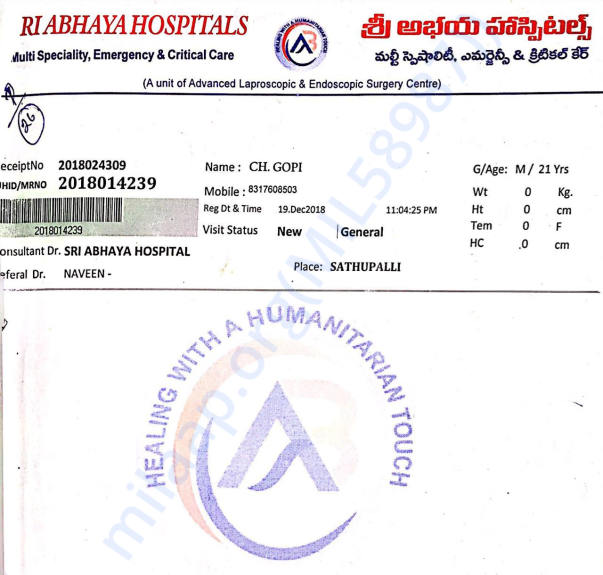 Hospital admit and Medical receipt