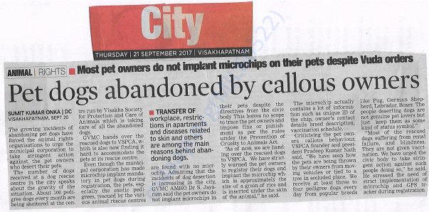 V.s.p.c.a in the issue regarding abandonment of pedigree dogs
