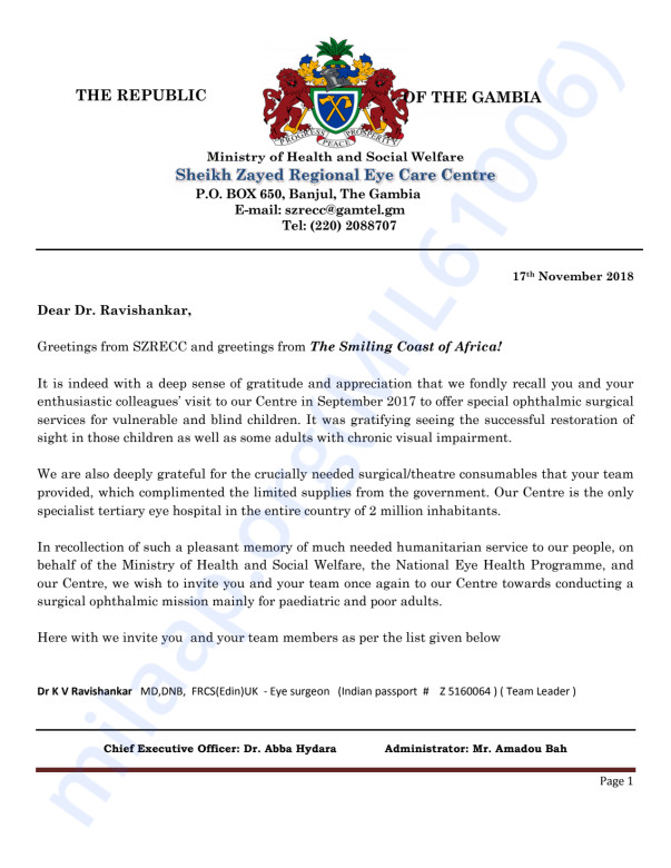 INVITATION FROM THE GOVERNMENT OF GAMBIA