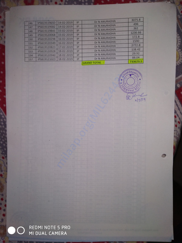 Medicine Bill page 4 total amt 7.3 lakhs