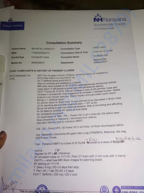 Mother's recent Radiotherapy document