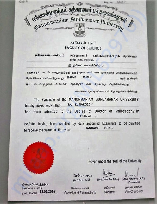 Degree of Doctor of Philosophy in Physics from Sundaranar University