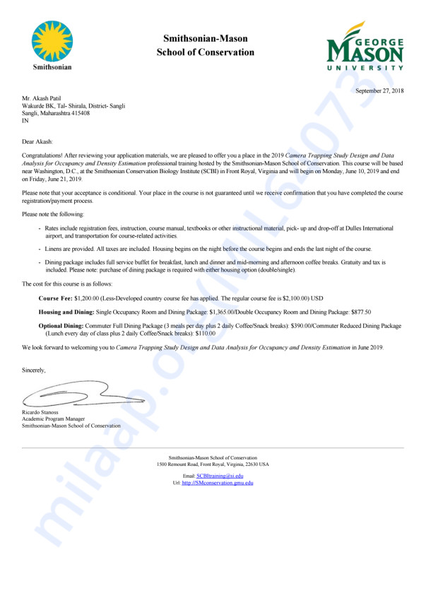 Admission letter for the Camera Trapping Course at SMSC, USA