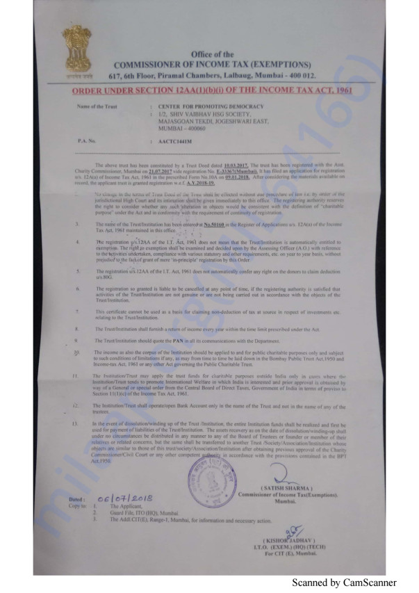 Income tax registration certificate