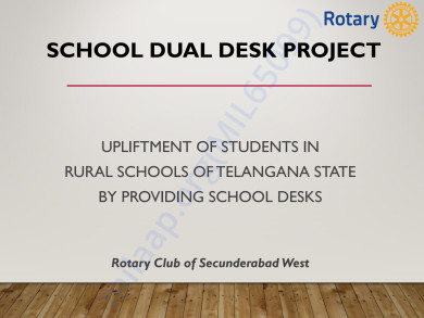Help Village School Kids sit on Desk to study -Rotary Happy School Prj