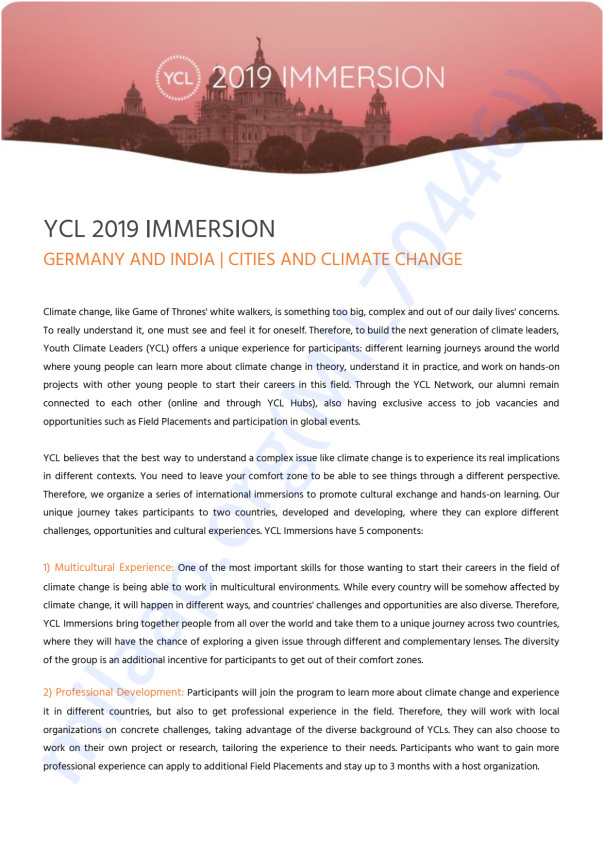 Youth Climate leader Immersion 2019.