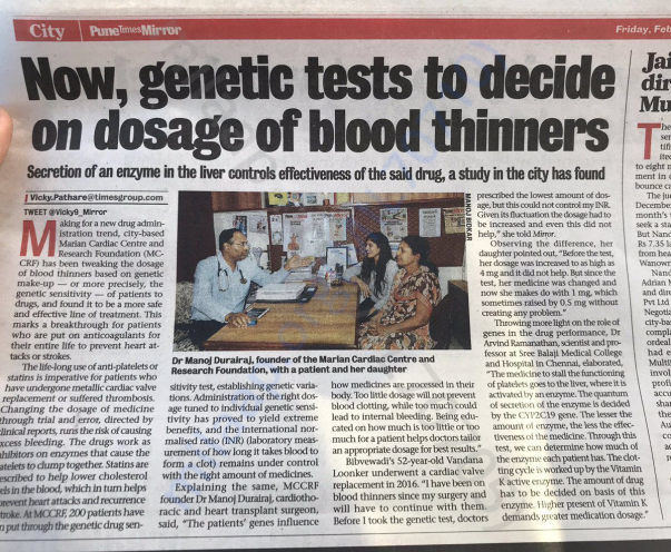 Coverage of Dr. Manoj in Pune Mirror