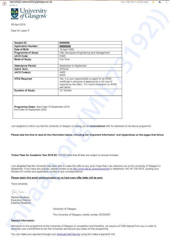 Offer Letter for 1 year MSc Course with description about deposit fee