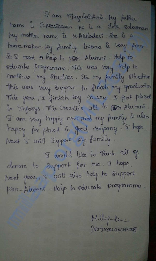 Ms. Vijayalkshmi's (Last 2 years beneficiary) Testimony