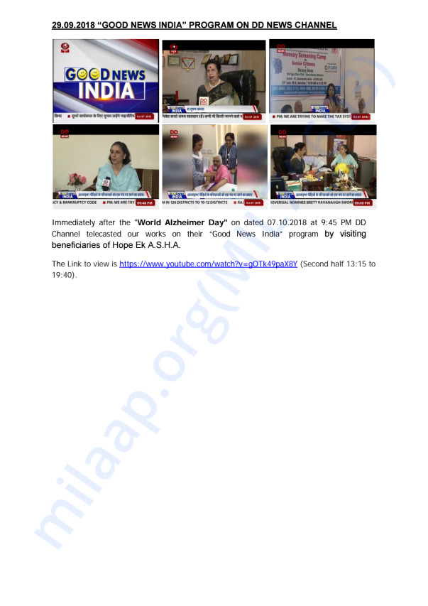 DD News Channel broadcast our works on Good News India Programme