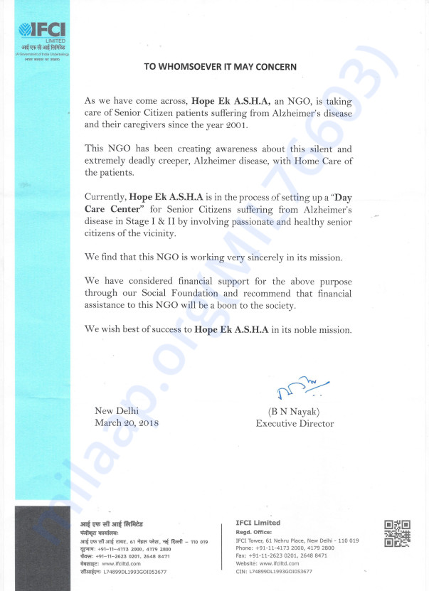 Recommendation Letter from IFCI LTD. Delhi