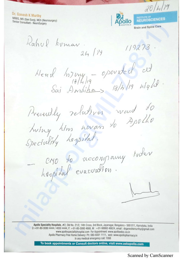 Admit letter in Apollo Hospital