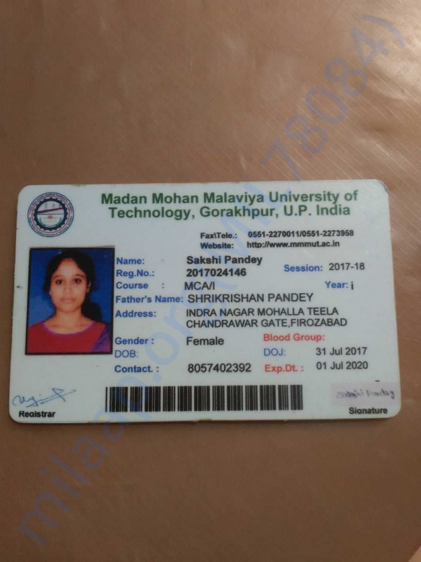 Her identity card of college.. 2017 to 2020.