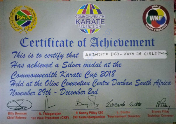 Commonwealth karate cup certificate