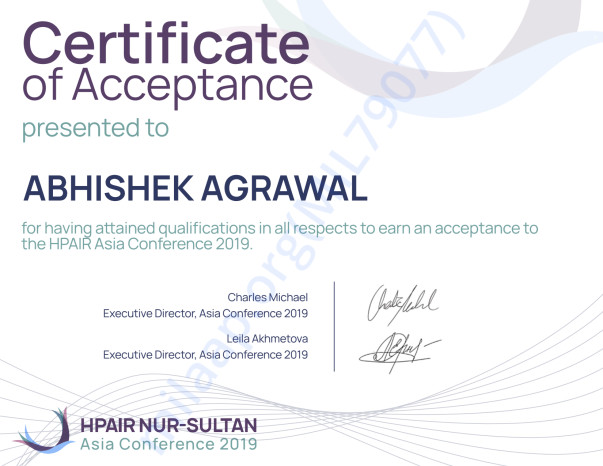 Certificate of Acceptance by Harvard