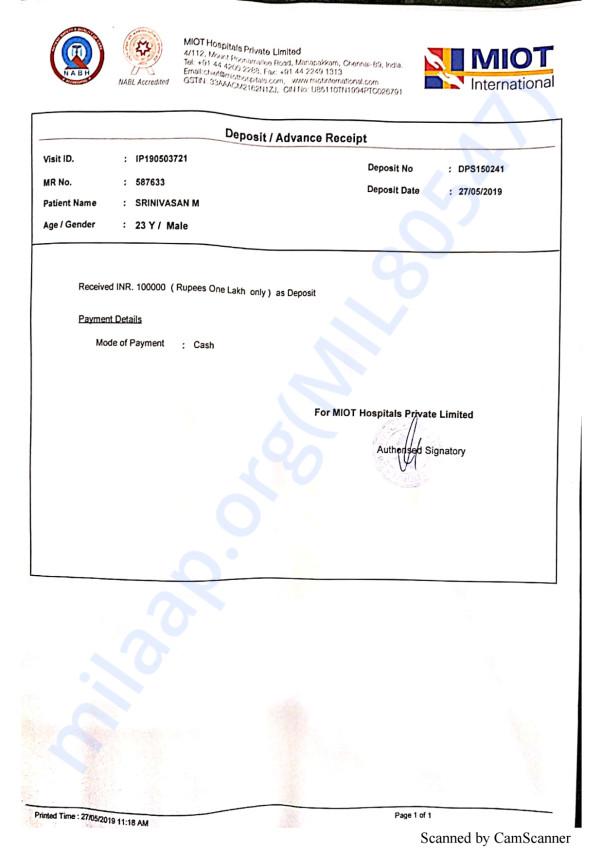 This is the bill paid so far for Srinivasan's surgery