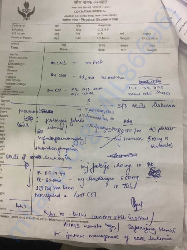 Documents of Sachin pandey ongoing treatment