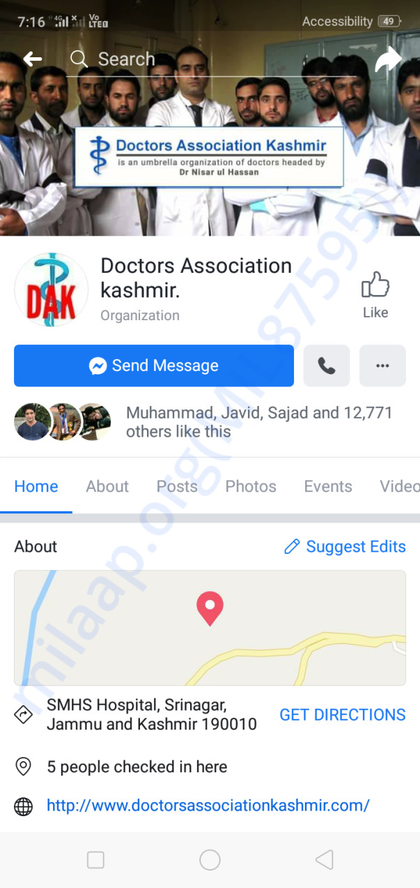 Facebook page of Doctors Association kashmir more than 12000 followers