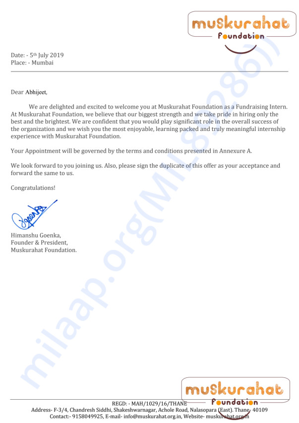 Offer letter received by Muskurahat foundation