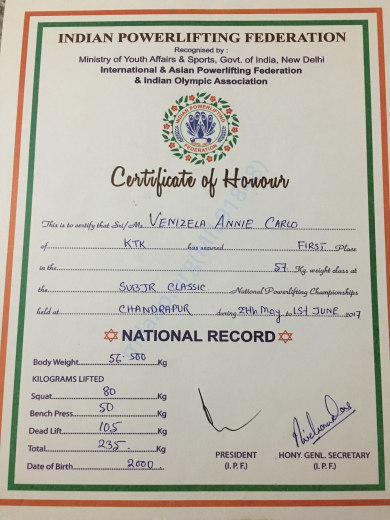 Indian Bench Press Record All india university powerlifting