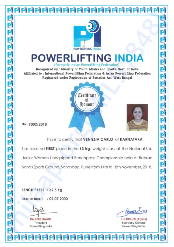 National powerlting championship secured gold medal