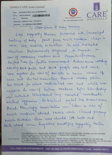 Medical report written by critical care department By Dr.Pavan Kumar R