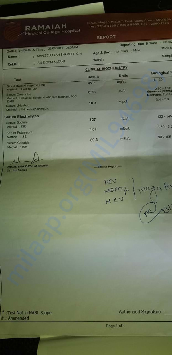 Ramaiah Hospital Blood Report - Kidney infection