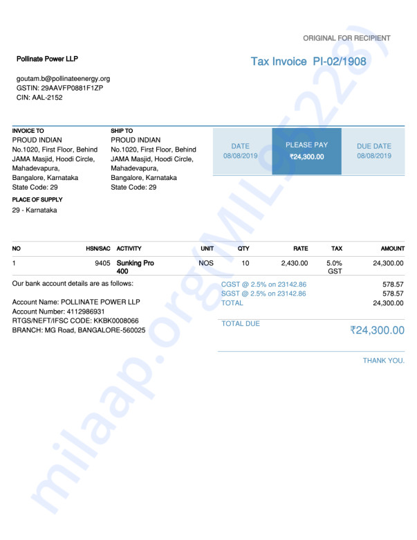 Invoice from solar lights vendor