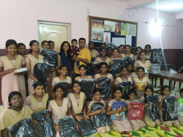 School kits distribution in flood affected areas
