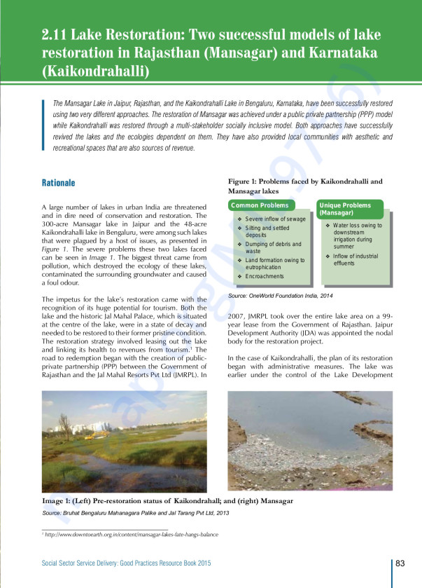 Two successful models of lake restoration - Kaikondrahalli Lake