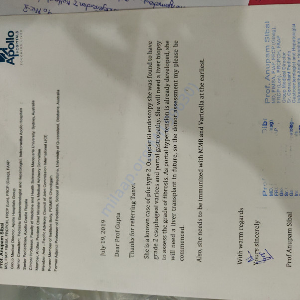Approval from Apollo hospital for disease of Tanvi