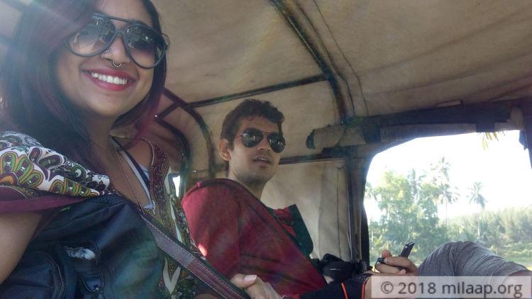 "Fellow worker and myself in Gautam's ""mini bus""."