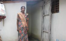 Annaikilli pictured outside her toilet-cum-bathroom