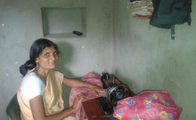 Mahanada with her newly bought sewing Machine