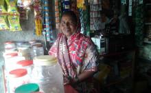 Sharda at her Kirana shop